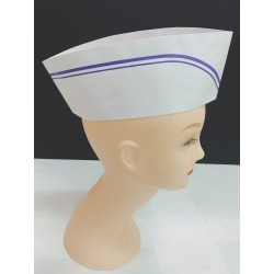 Paper Chef Hat - Blue Line